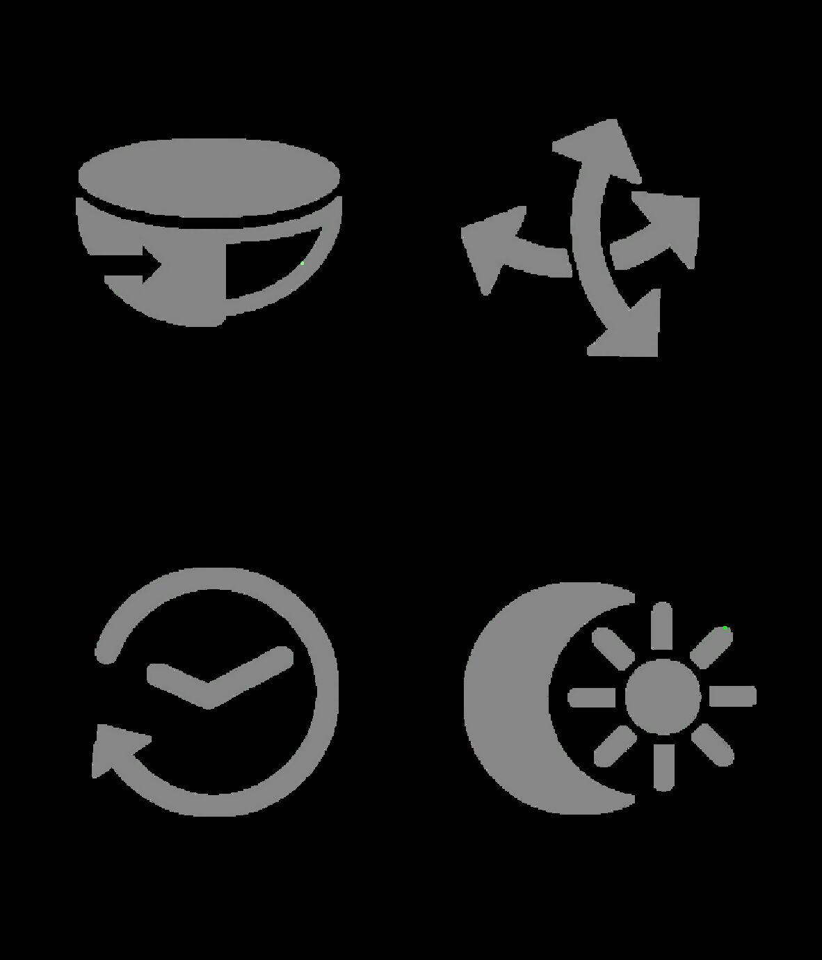 Vier Piktogramme, die die Einstellmöglichkeiten der Sensoren illustrieren: Drehen, Schwenken, Zeiteinstellung und Ansprechhelligkeit