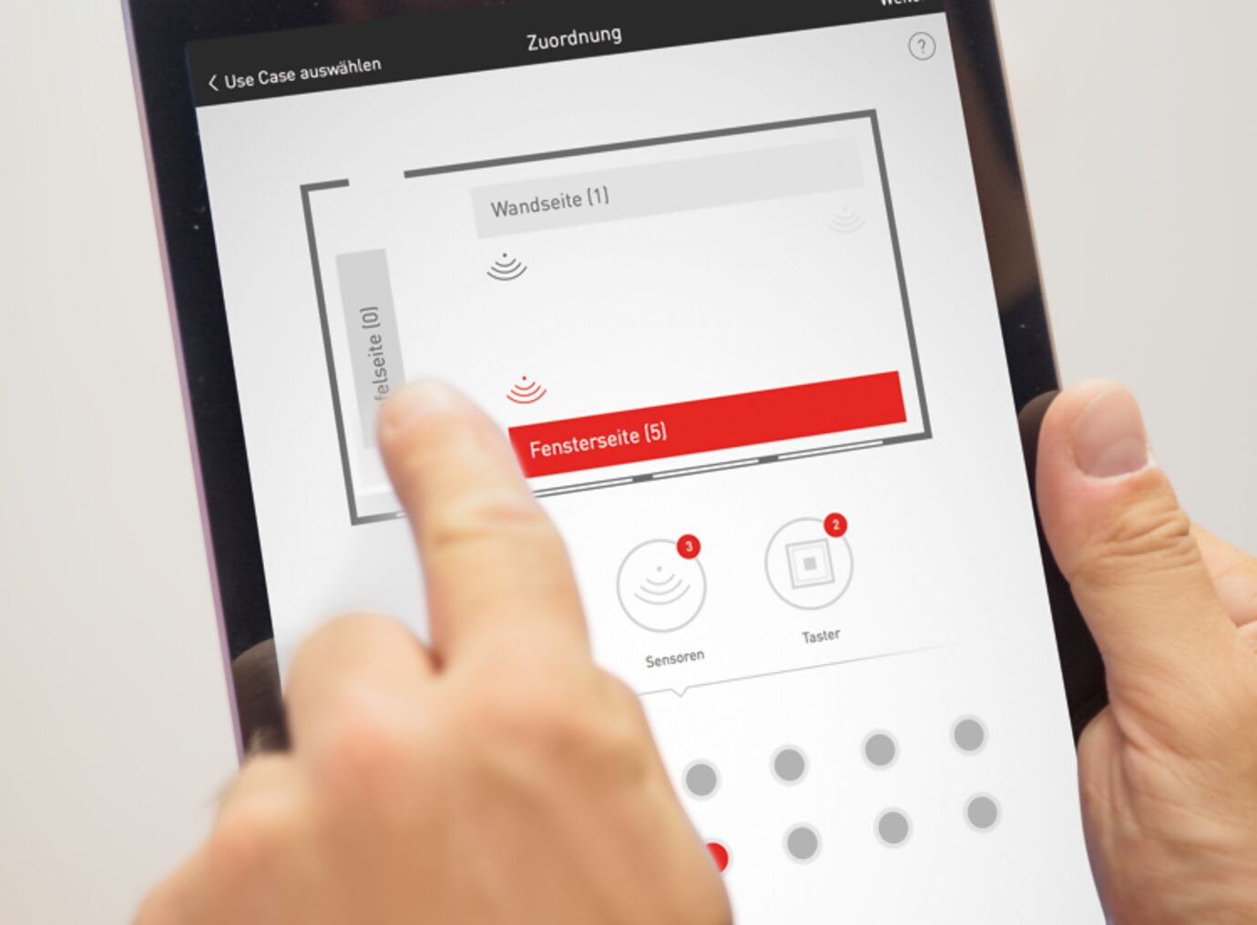 Konfiguration des LiveLink-Systems mit einem Tablet