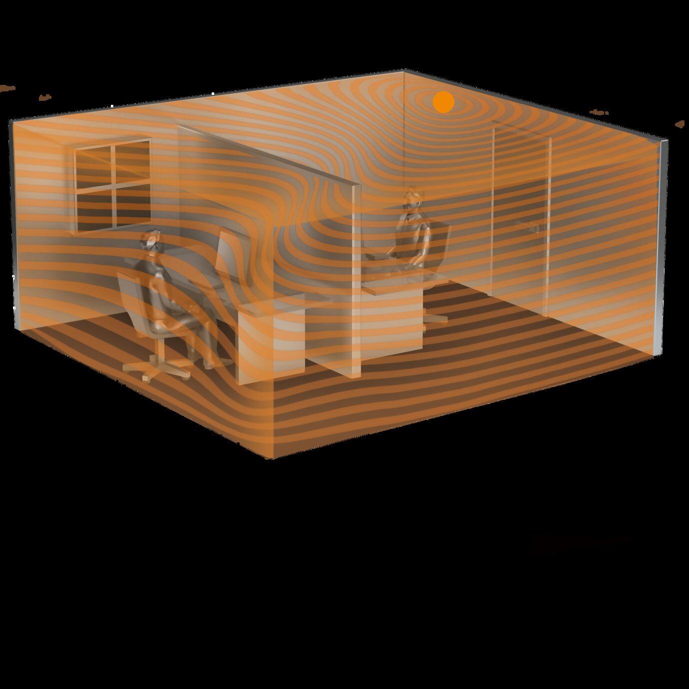 Sensor-Erfassungsbereich im virtuellen Büro mit dünnen Trennwänden