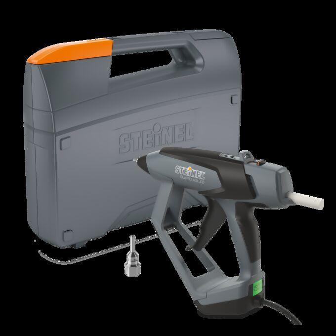 Produktbild der Heißklebepistole GluePro 400 mit Koffer und Düse