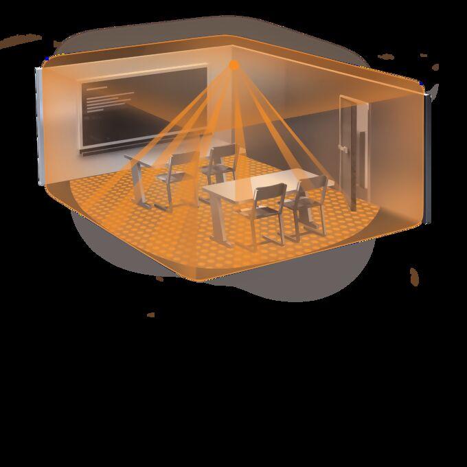 Virtueller Klassenraum mit Sensor-Erfassungsbereich