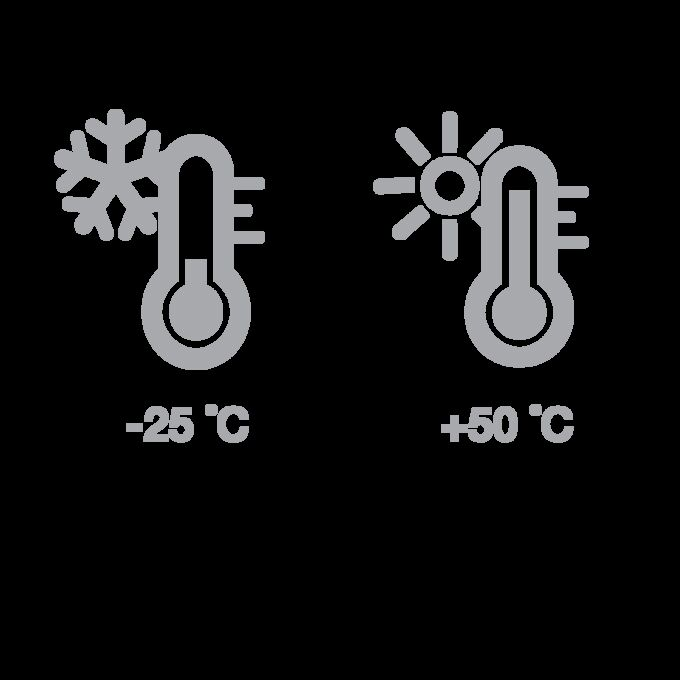 Kälte- und Hitzesymbol mit Termostat