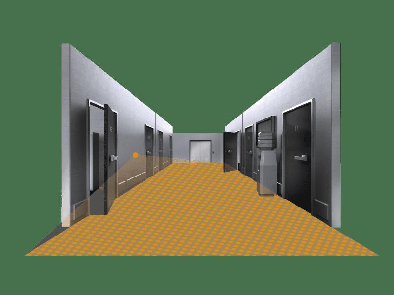 Virtueller Flur mit rechteckigem Erfassungsbereich des Sensors