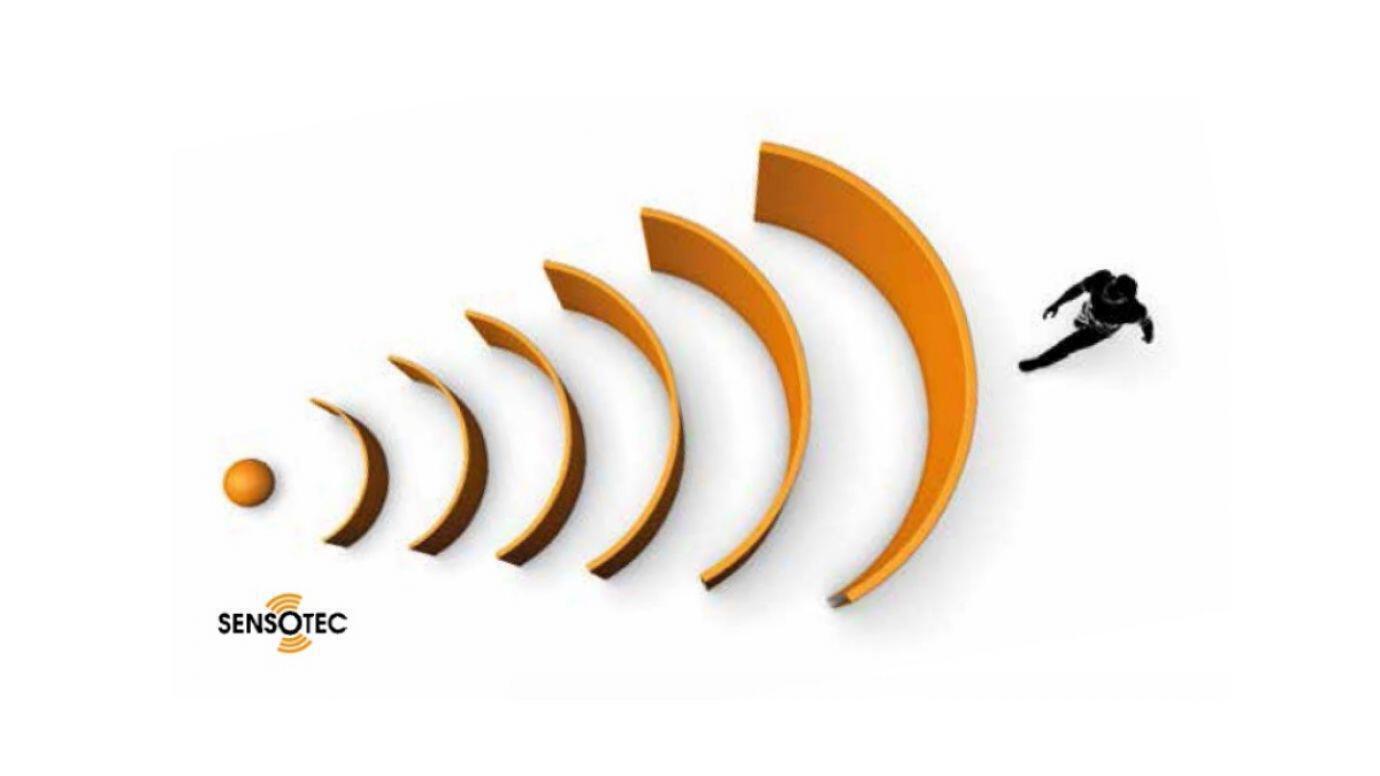 Technische Illustration eine Menschen, der von einem Hochfrequenzsensor erfasst wird