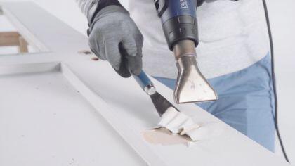 Anwendungsbeispiel zum Farbe entfernen mit dem Heißluftgebläse HL 1920 E