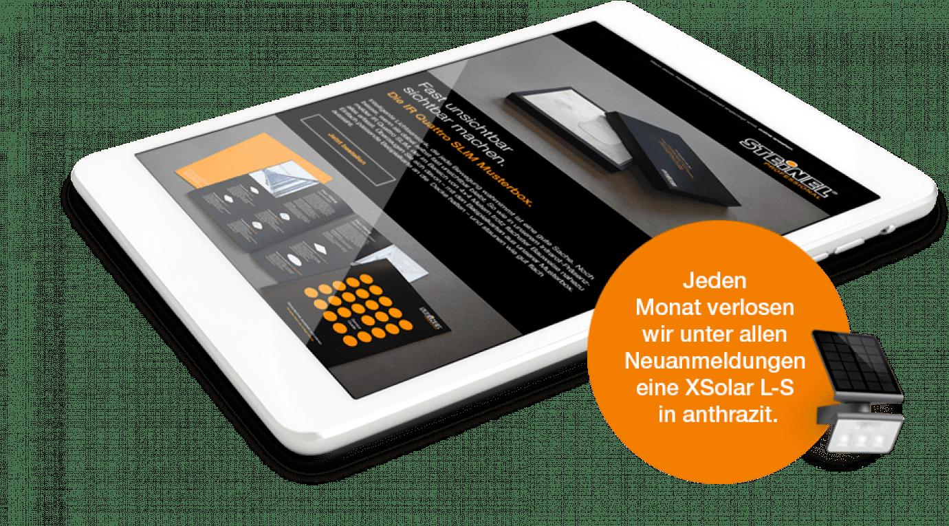 Abbildung des Profi-Newsletters auf einem Tablet