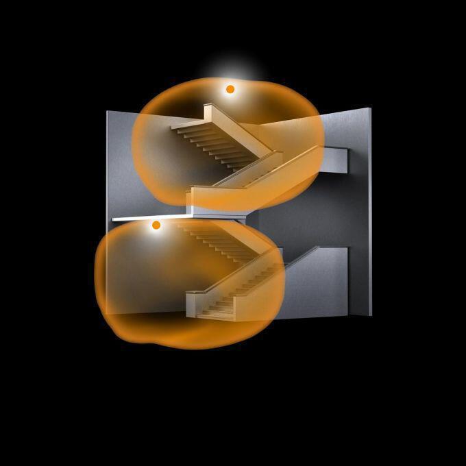 Erfassungsbereiche der Sensoren im Treppenhaus