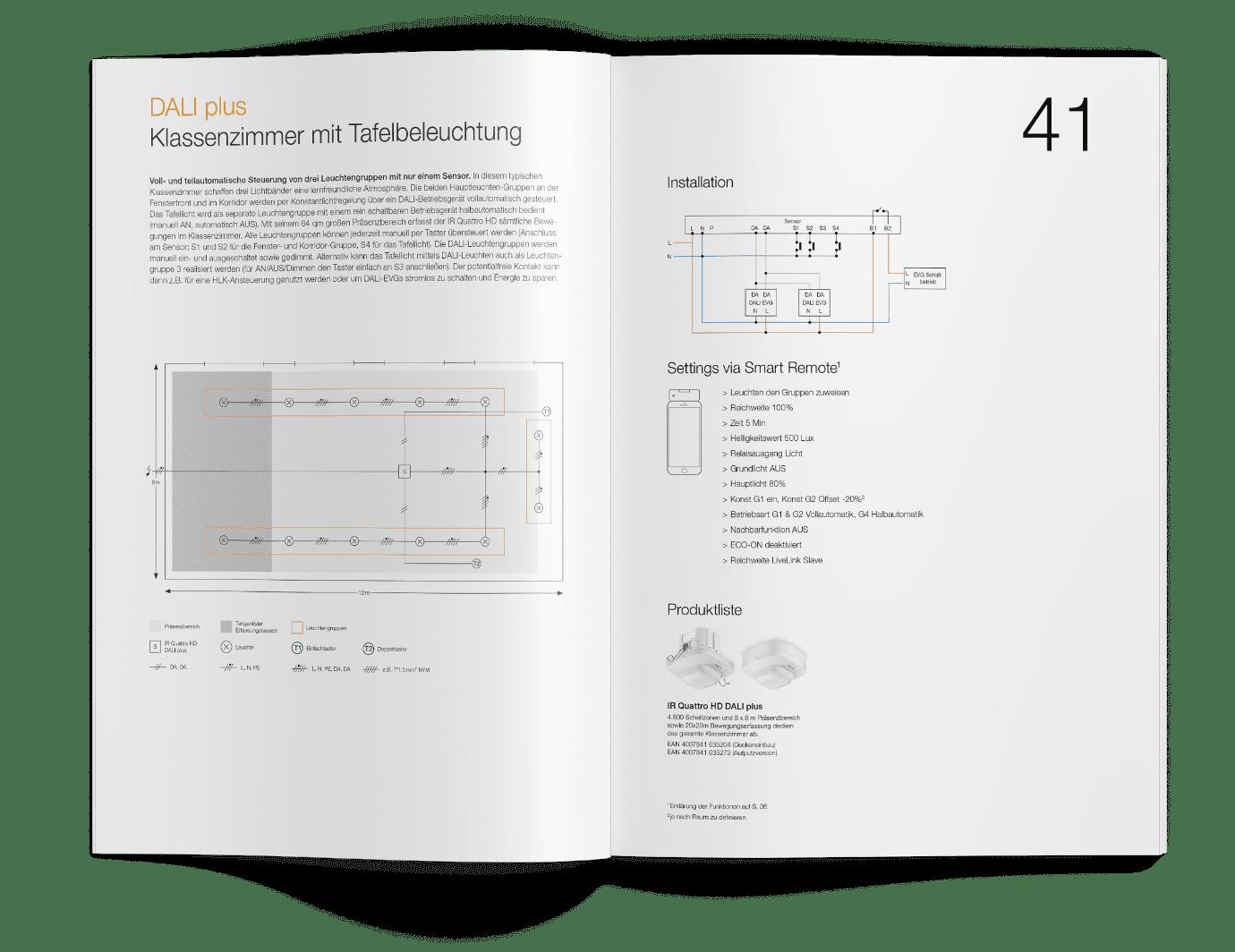 Ausschnitt der Planer-Broschüre mit dem Beispiel für Klassenzimmer