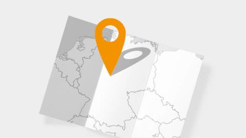 Landkarte mit Standort-Symbol. Händlersuche