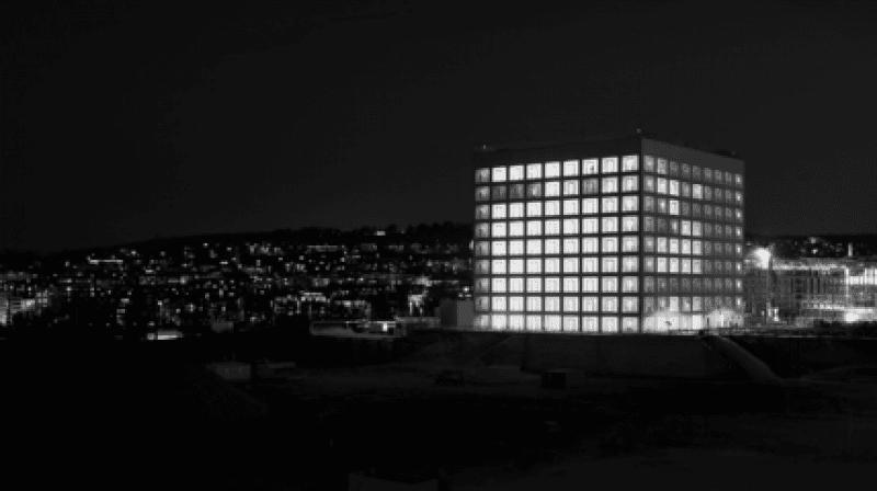 Stadtbibliothek Stuttgart von außen in schwarz-weiß