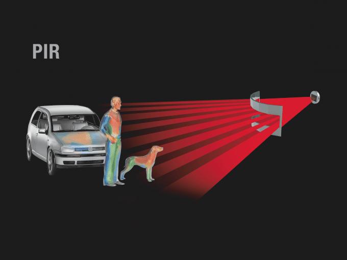 virtuelle Darstellung von Infrarot-Strahlen und erkannter Körperwäre eines Menschen und eines Hundes