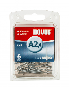 A 2,4 x 6 mm alluminio 30 pezzi