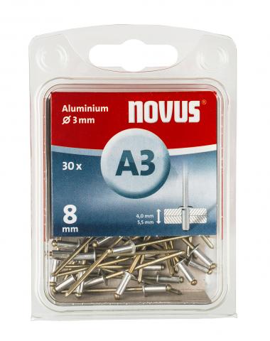 A 3 x 8 mm alluminio 30 pezzi 30 pz.