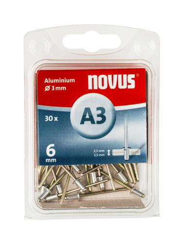 A 3 x 6 mm aluminium 30 pcs. 30 ea.