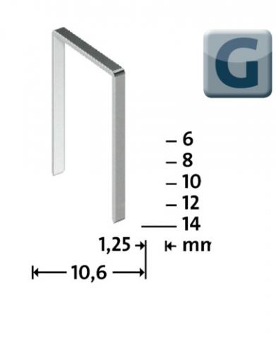 G Type 11/10 mm galvanized 600 pcs. 600 ea.